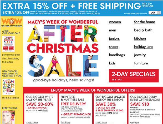 Complete coverage of Macys After Christmas Sales and Deals.