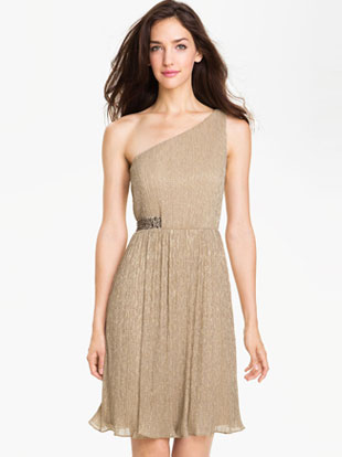 Maggy London One Shoulder Metallic Dress