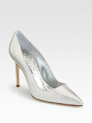Manolo Blahnik Metallic Leather & Mesh BB Pumps