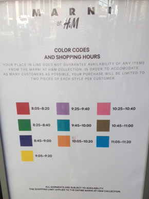 Color-coded bands provided you with a said 15-minute shopping time, increments that lasted up until 11:20AM