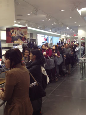 Groups of 30, allotted 15 minutes to grab as many Marni pieces