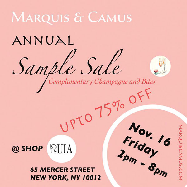 Marquis & Camus Annual Sample Sale