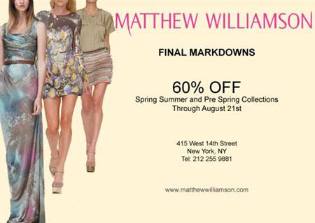 Matthew Williamson Summer Retail Sale