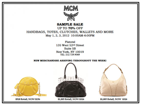 MCM Handbags Sample Sale