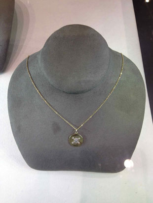 Michael C. Fina necklace with diamond encrusted skull ($339, orig. $565)