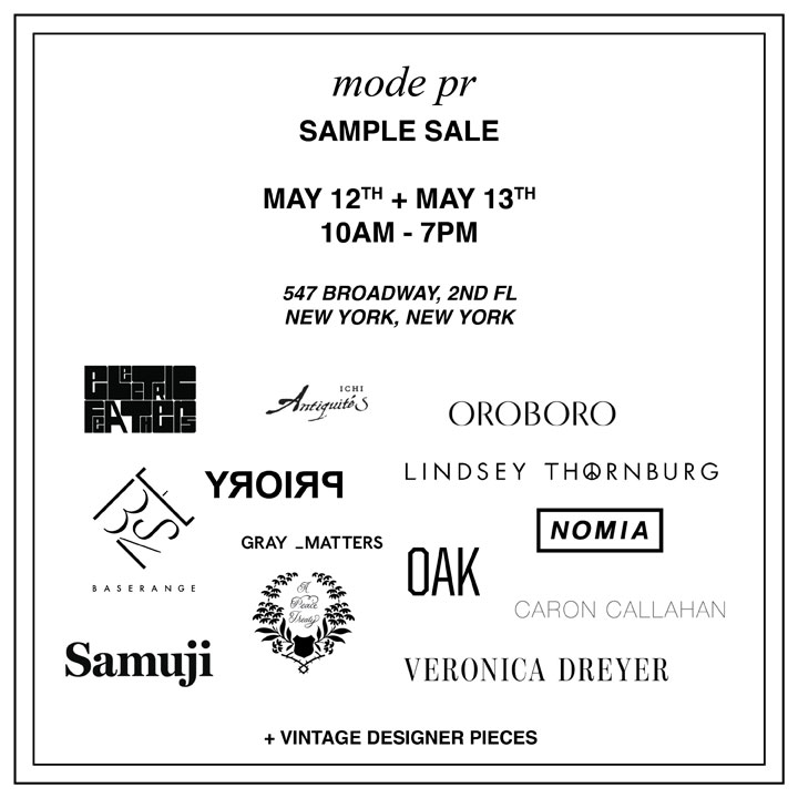 Mode PR Sample Sale