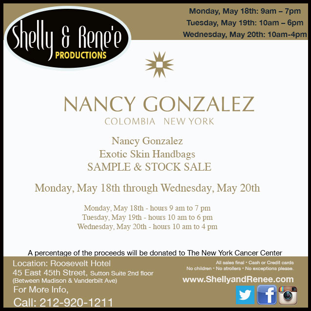Nancy Gonzalez Mother's Day Sample & Stock Sale