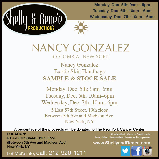 Nancy Gonzalez Sample & Stock Sale