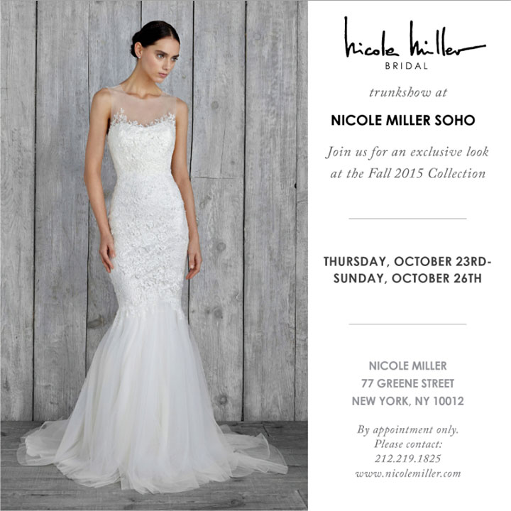 Nicole Miller Bridal Fall 2015 Trunk Show