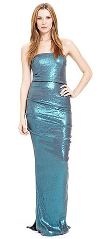 Nicole Miller Strapless All Over Sequin Gown