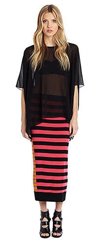 Nicole Miller Diagonal Striped Sweater Skirt