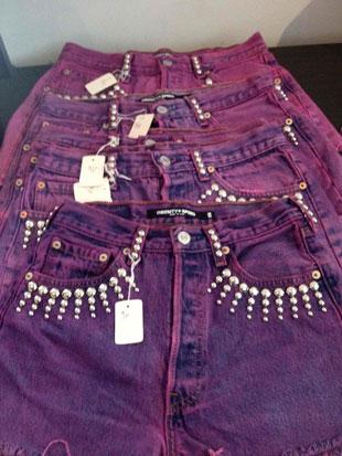 Obesity and Speed Purple Studded Denim Shorts ($96)