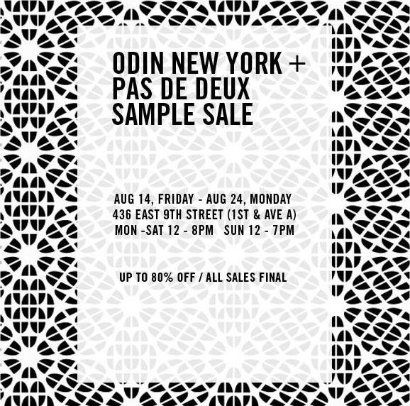 Odin New York & Pas De Deux Sample Sale