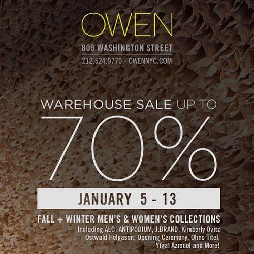 OWEN Fall/Winter Warehouse Sale