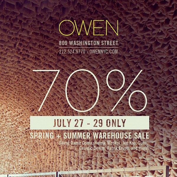 OWEN Spring Summer Warehouse Sale