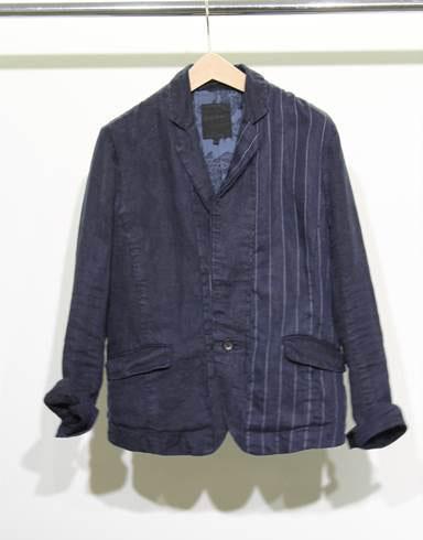 Indigo Dyed Striped Linen Jacket in Navy: $105 (orig. $510)