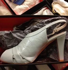 Pedace Peep Toe Heel in Ice Blue (Size 37 - $49)