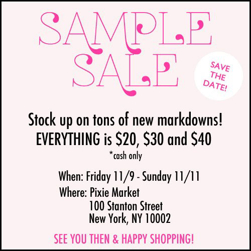 Pixie Market Sample Sale