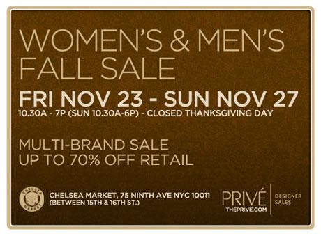 Prive Multi-brand Fall Sample Sale