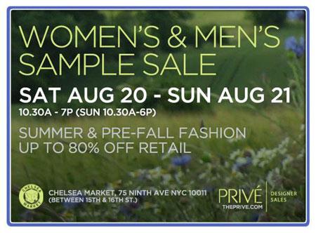 Prive Summer & Pre-Fall Sample Sale