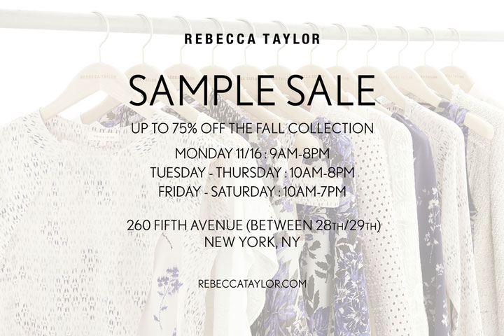 Rebecca Taylor Fall 2015 Sample Sale