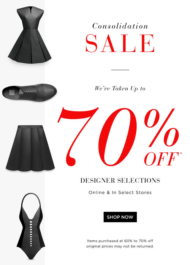 Saks Consolidation Sale