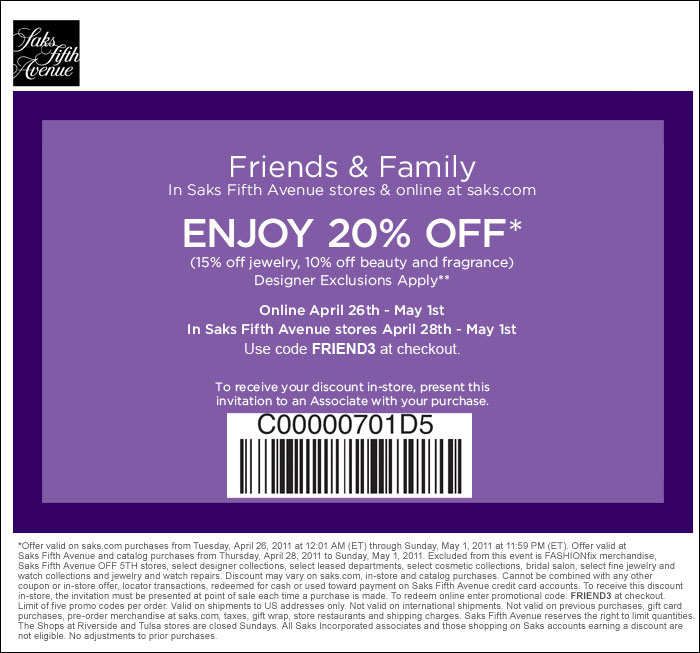 Saks Fifth Avenue Friends & Family Event