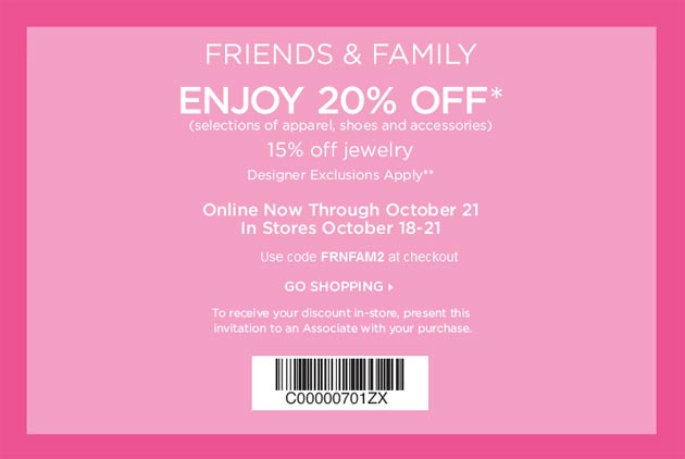 Saks fifth avenue coupon friends and family