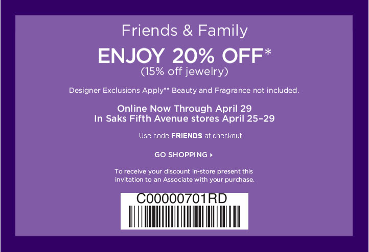 picture relating to Avenue Coupons in Store Printable titled Saks 5th road coupon good friends and household 2018 / Image