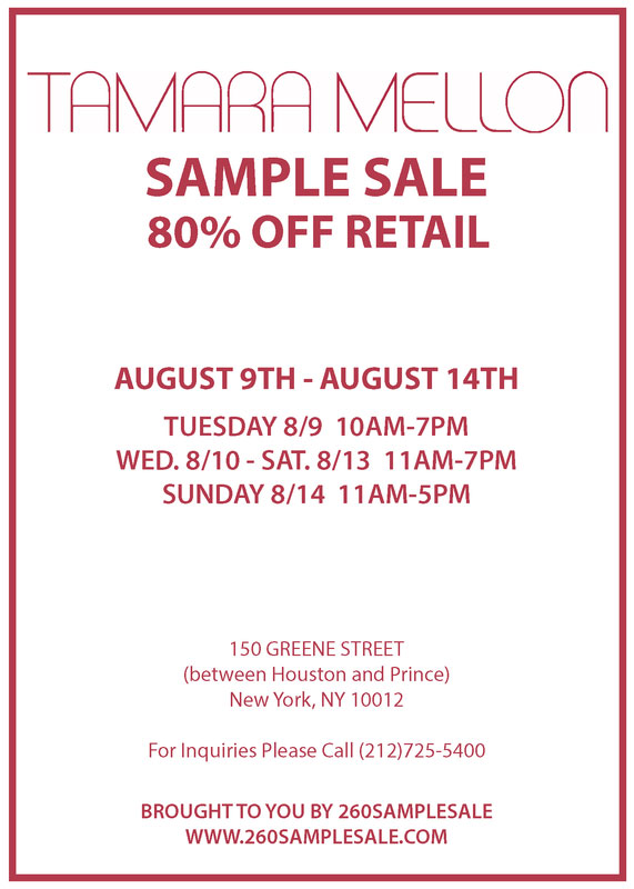 Tamara Mellon Footwear & Apparel New York Sample Sale ...