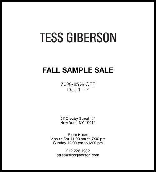 Tess Giberson Fall Sample Sale