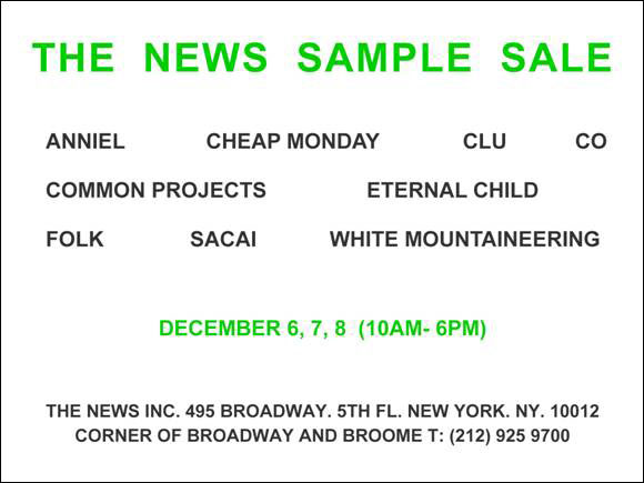 The News Spring Sample Sale