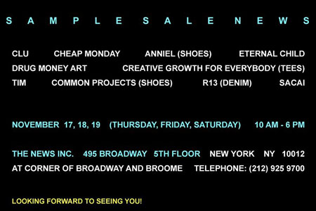 The News Showroom  Sample Sale