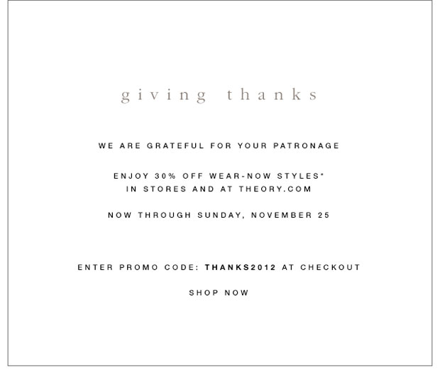 Theory Thanksgiving Sale