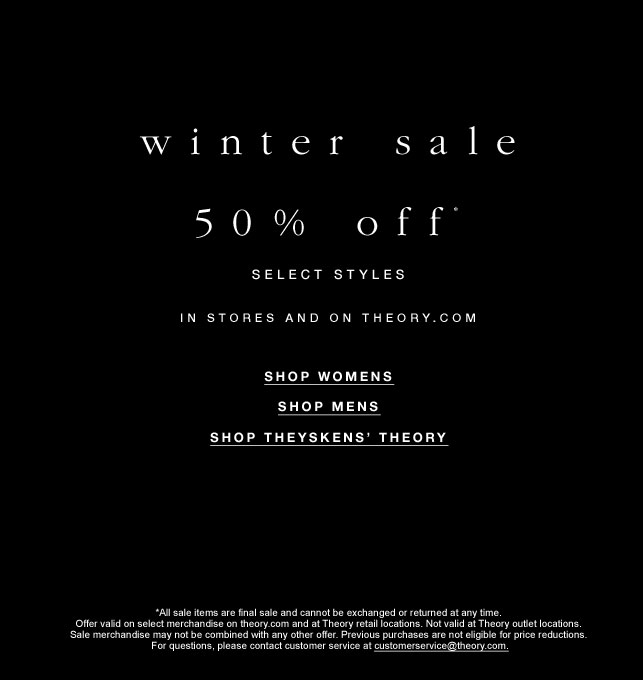 Theory Winter Retail Sale