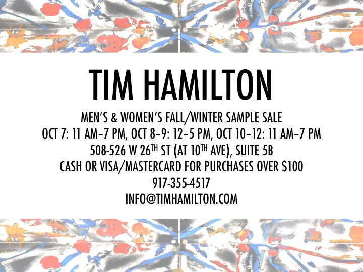 Tim Hamilton Fall/Winter Sample Sale
