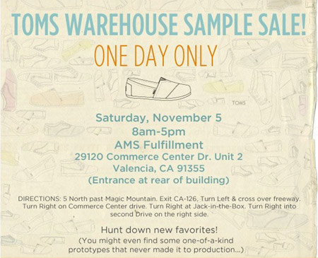 Toms Warehouse  Sample Sale