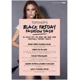 Topshop Black Friday Fashion Dash: 11/25 - 11/27