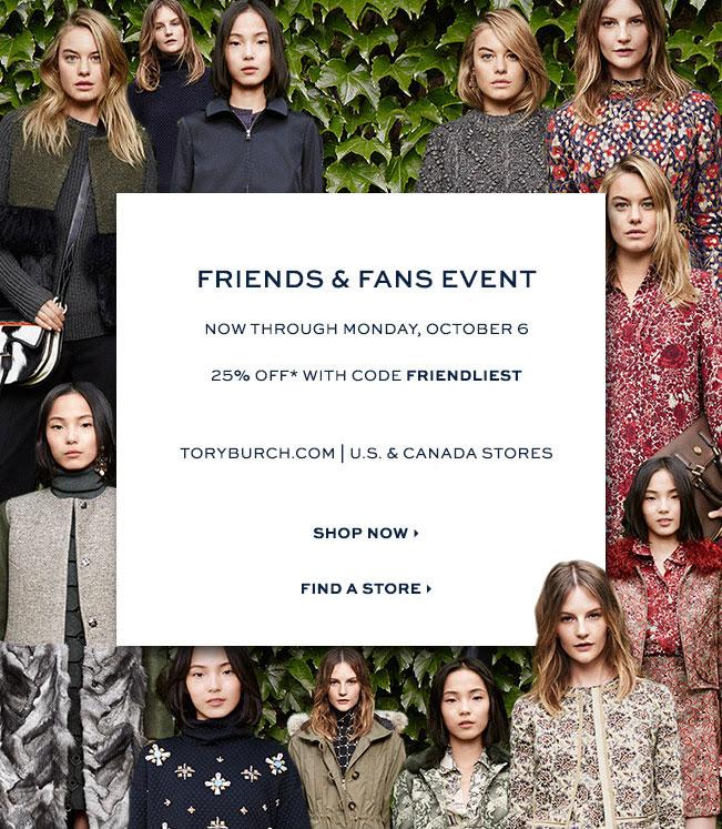 Tory Burch Friends & Fans Sale