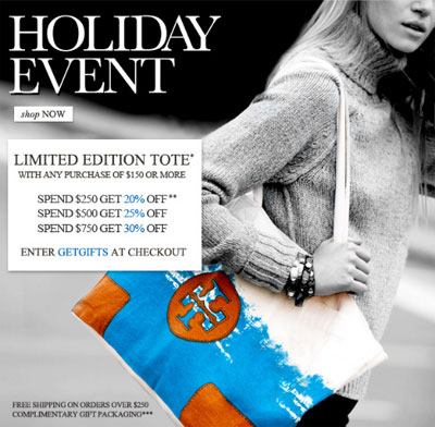 Tory Burch Holiday Event: Thru 11/28