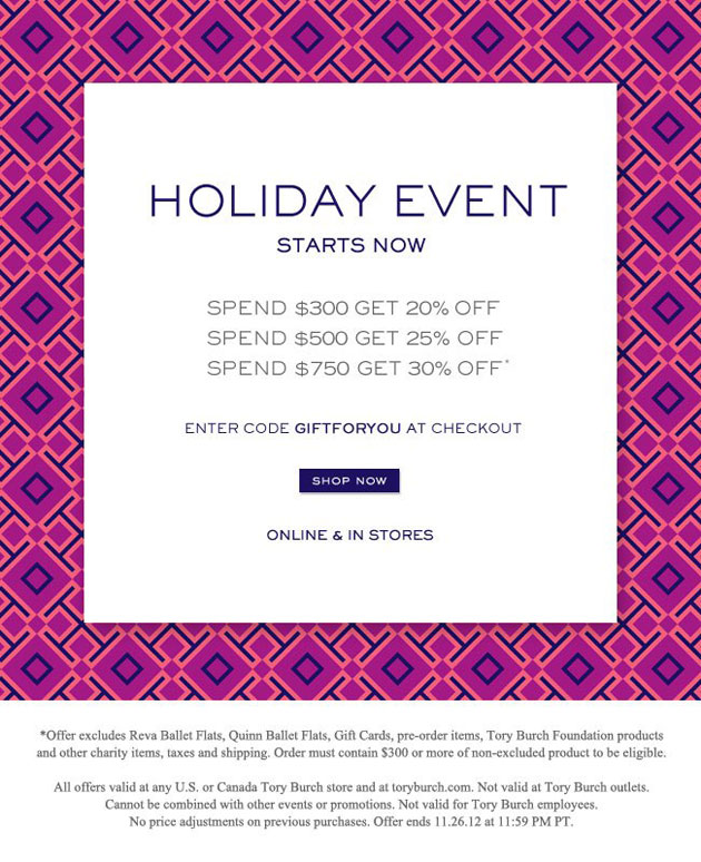 Tory Burch Thanksgiving Holiday Sale Event