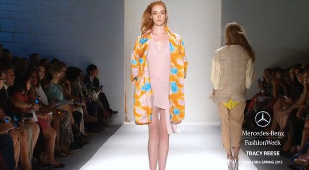 Tracy Reese pleased audiences with an orange and turquoise floral jacquard clutch coat