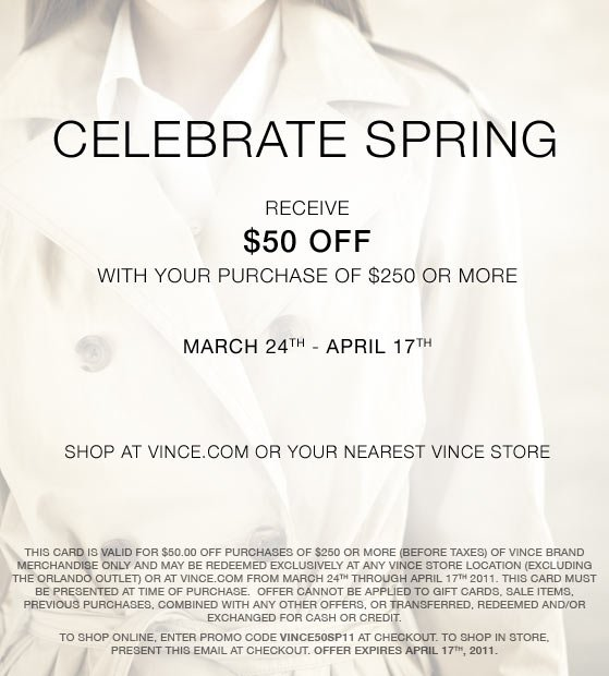 $50 off at Vince
