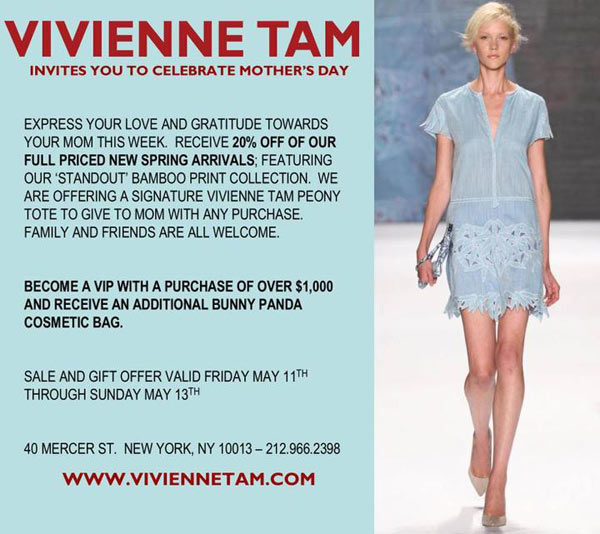 Vivienne Tam Mother's Day Event