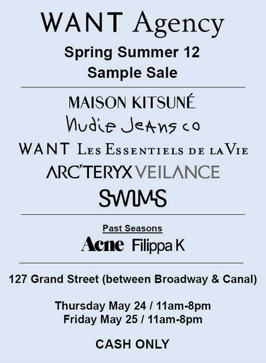 Want Agency SS12 Sample Sale
