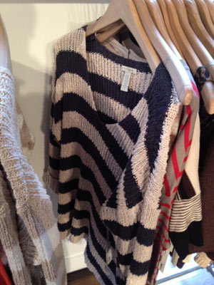 White + Warren Buff Navy Stripe V-Neck Sweater ($40)