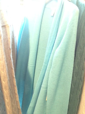 White + Warren Cashmere Trapeze Dusters ($100) in Light Turquoise and Peacock Heather Cable