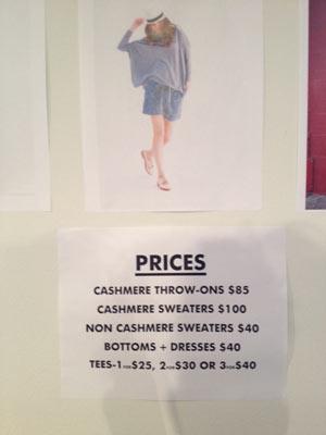 White + Warren Sample Sale Price List
