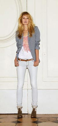 Vanda Bis Italian collar blazer  with clear rhinhstones on the elbow  MSRP: $530 / sale price: $180