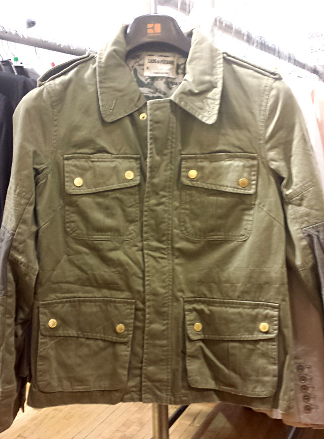 Military jackets for $230 at Zadig & Voltaire Sample Sale